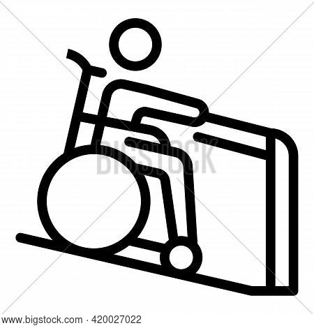 Wheelchair Man Help Icon. Outline Wheelchair Man Help Vector Icon For Web Design Isolated On White B