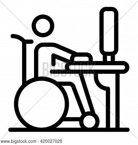 Wheelchair Man Computer Work Icon. Outline Wheelchair Man Computer Work Vector Icon For Web Design I