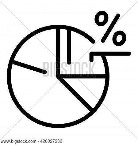 Social Media Marketing Pie Chart Icon. Outline Social Media Marketing Pie Chart Vector Icon For Web