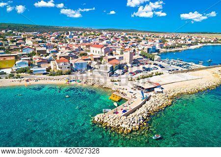 Razanac. Historic Town Of Razanac And Velebit Channel Aerial View, Dalmatia Region Of Croatia