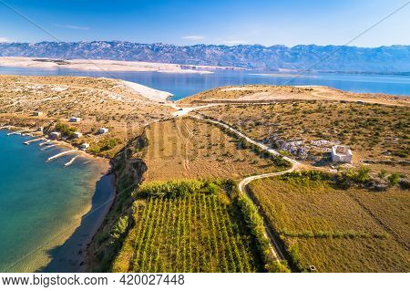 Zadar Area Stone Desert Scenery And Church Ruins Near Zecevo Island Aerial View, Dalmatia Region Of