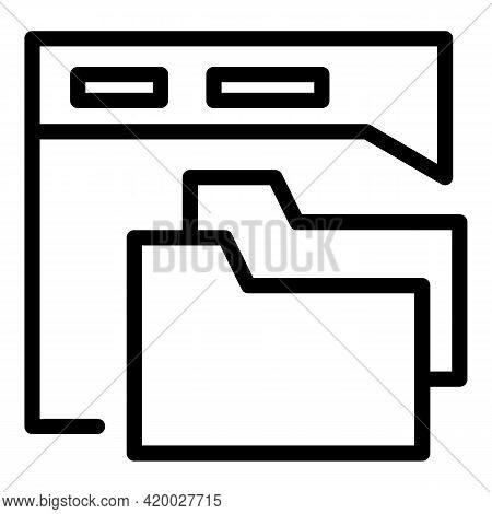Api Web Folder Icon. Outline Api Web Folder Vector Icon For Web Design Isolated On White Background