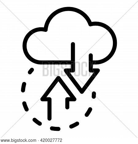 Api Change Data Cloud Icon. Outline Api Change Data Cloud Vector Icon For Web Design Isolated On Whi