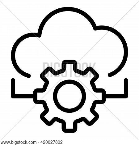 Api Cloud Gear Icon. Outline Api Cloud Gear Vector Icon For Web Design Isolated On White Background