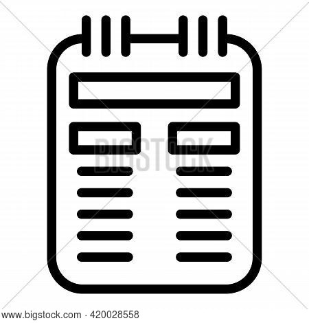 Financial Planning Pad Icon. Outline Financial Planning Pad Vector Icon For Web Design Isolated On W