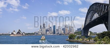 Sydney Harbour Bridge And City Skyline