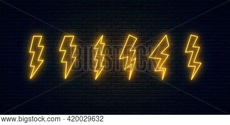 Neon Lightning Bolt Set. Six High-voltage Thunderbolt Neon Symbols. Thunder And Electricity Sign