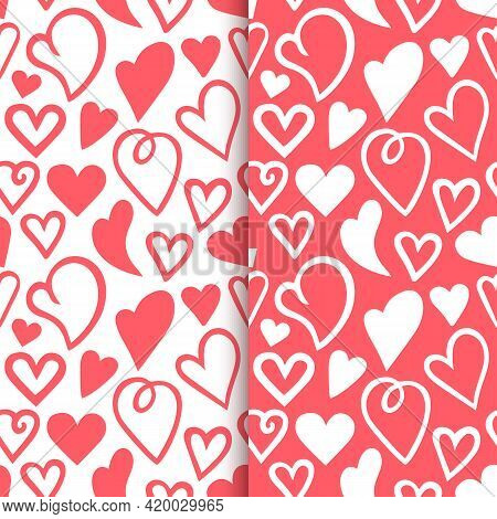 Repeated Outlines Of Hearts Drawn By Hand. Romantic Seamless Pattern Set. Endless Cute Print. Girly
