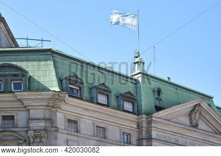 Buenos Aires, Argentina; Jan 24, 2021: Main Headquarters Of The Banco De La Nacion Argentina, Argent