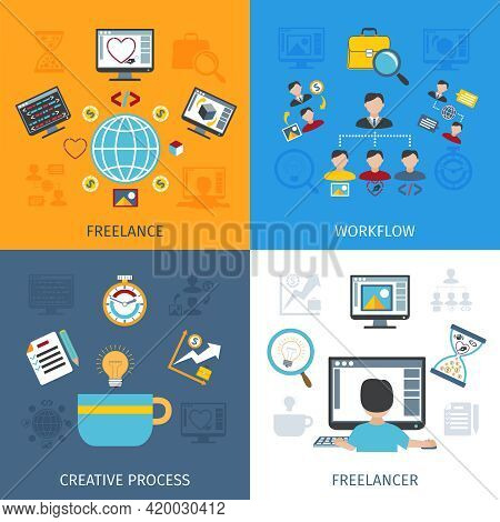 Freelancer Design Concept Set With Freelancer Workflow And Creative Process Flat Icons Isolated Vect