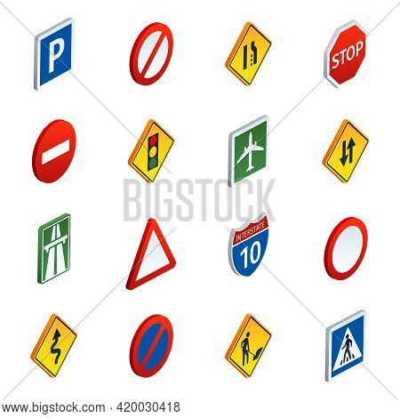 Common Road Traffic Regulatory And Warning Signs Symbols To Learn  Isometric Icons Set Abstract Vect