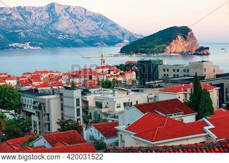 View Of Budva Coastal Town In Montenegro And Sveti Nikola Island In Adriatic Sea