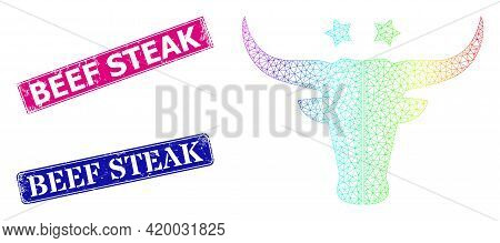 Rainbow Colored Mesh American Beef Logo, And Beef Steak Dirty Framed Rectangle Watermarks. Pink And