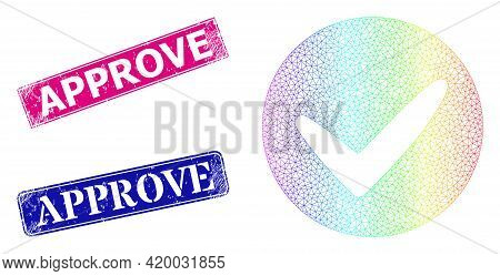 Rainbow Vibrant Network Approve, And Approve Rubber Framed Rectangle Stamp Seals. Pink And Blue Rect