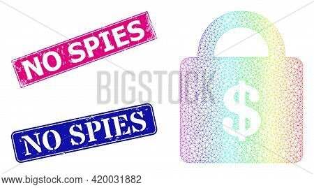 Rainbow Colorful Mesh Bank Lock, And No Spies Rubber Framed Rectangle Seal Imitations. Pink And Blue