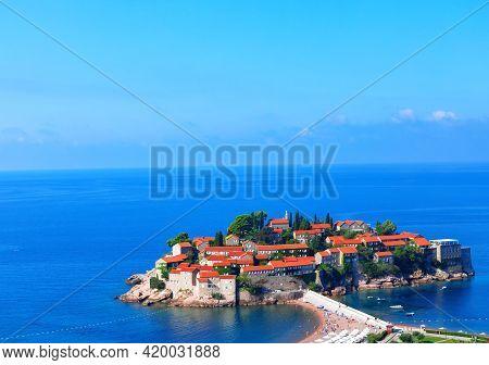 Luxury Tourist Resort At Adriatic Sea . Spectacular Scenery Of Famous Sveti Stefan Island On Adriati