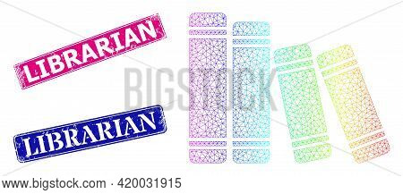 Spectrum Colorful Net Books, And Librarian Rubber Framed Rectangle Stamps. Pink And Blue Rectangle S