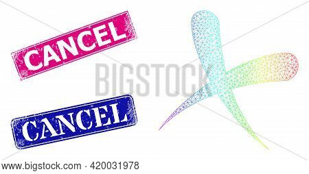 Rainbow Colored Net Cancel, And Cancel Unclean Framed Rectangle Stamps. Pink And Blue Rectangle Badg