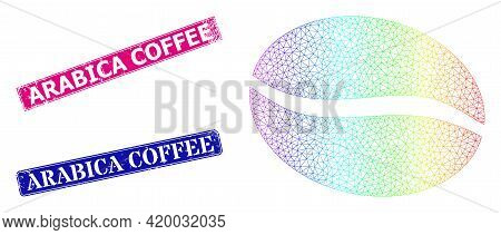 Rainbow Colored Mesh Coffee Bean, And Arabica Coffee Grunge Framed Rectangle Seal Prints. Pink And B