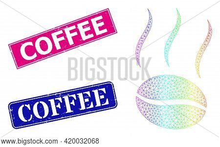 Spectrum Colorful Mesh Coffee Vapor, And Coffee Rubber Framed Rectangle Stamp Seals. Pink And Blue R