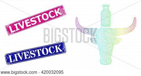 Spectral Vibrant Mesh Cow Milk, And Livestock Scratched Framed Rectangle Stamps. Pink And Blue Recta