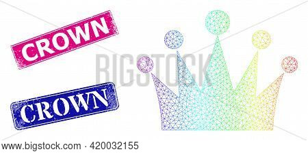 Spectral Colorful Net Crown, And Crown Dirty Framed Rectangle Seals. Pink And Blue Rectangle Stamp S