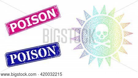 Rainbow Colorful Network Death Sun Radiation, And Poison Unclean Framed Rectangle Stamp Seals. Pink