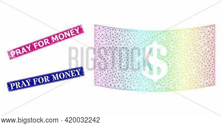 Spectral Vibrant Network Dollar Banknote, And Pray For Money Corroded Framed Rectangle Stamp Seals.