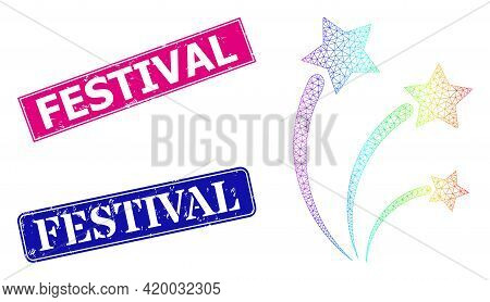 Rainbow Colorful Mesh Festival Sparks, And Festival Corroded Framed Rectangle Stamp Seals. Pink And
