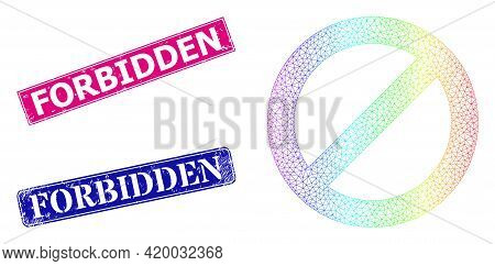 Spectrum Colored Network Forbidden, And Forbidden Grunge Framed Rectangle Stamps. Pink And Blue Rect