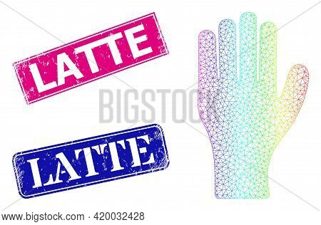 Spectrum Vibrant Mesh Human Hand, And Latte Grunge Framed Rectangle Stamp Seals. Pink And Blue Recta