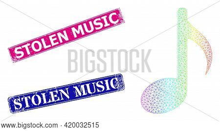 Spectrum Gradient Mesh Music Note, And Stolen Music Dirty Framed Rectangle Seal Prints. Pink And Blu