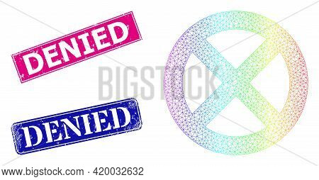 Spectral Colorful Mesh Restrict, And Denied Grunge Framed Rectangle Stamp Seals. Pink And Blue Recta