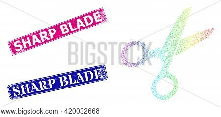 Spectrum Colored Mesh Scissors, And Sharp Blade Grunge Framed Rectangle Seals. Pink And Blue Rectang
