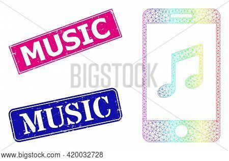 Rainbow Gradient Mesh Smartphone Music, And Music Dirty Framed Rectangle Stamps. Pink And Blue Recta