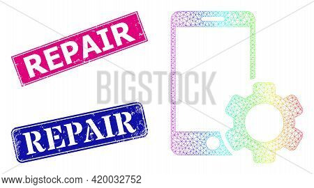 Spectral Colorful Net Smartphone Repair Gear, And Repair Dirty Framed Rectangle Stamp Seals. Pink An
