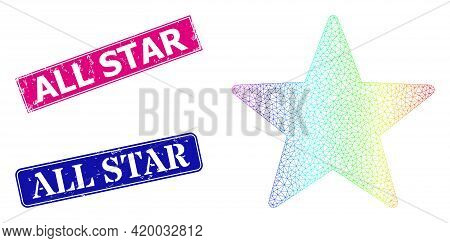 Rainbow Colored Net Star, And All Star Corroded Framed Rectangle Stamp Seals. Pink And Blue Rectangl