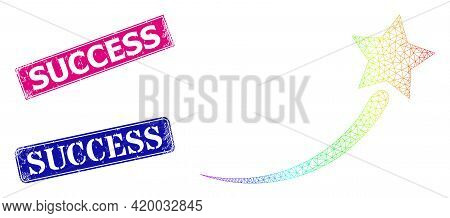 Spectral Vibrant Network Success Start Star, And Success Textured Framed Rectangle Stamps. Pink And