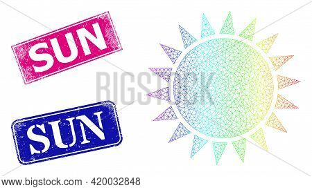 Spectrum Vibrant Mesh Sun, And Sun Corroded Framed Rectangle Stamps. Pink And Blue Rectangle Stamps