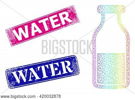 Spectrum Vibrant Net Water Bottle, And Water Scratched Framed Rectangle Stamp Seals. Pink And Blue R