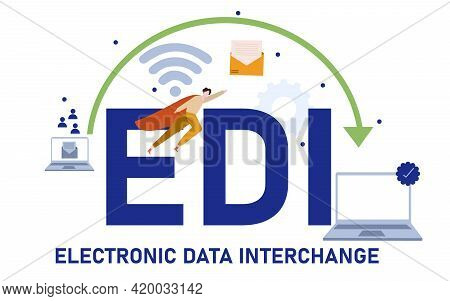 Electronic Data Interchange Typography Lettering Text Around Laptop Network Connection Icon With Car