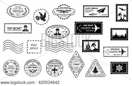 Postage Stamps And Postmarks. Set Of Postmarks And Postage Stamps With City Silhouettes, Islands Wit