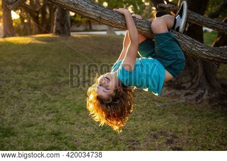 Childhood Leisure And Kids Activities Concept. Child Hanging Upside Down On Tree And Having Fun In S