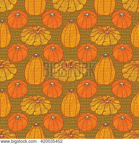 Squash Vegetable Varieties Background Seamless Vector Pattern In A Retro Style.