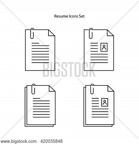 Resume Icons Set Isolated On White Background From Leadership Collection. Resume Icon Thin Line Outl