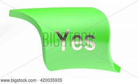 Yes Green Icon Isolated On White Background - 3d Rendering Illustration
