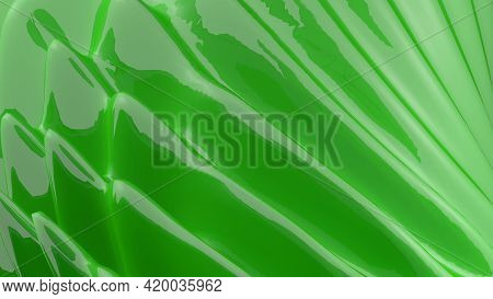 Abstract Green Glossy Plastic Background - 3d Rendering Illustration
