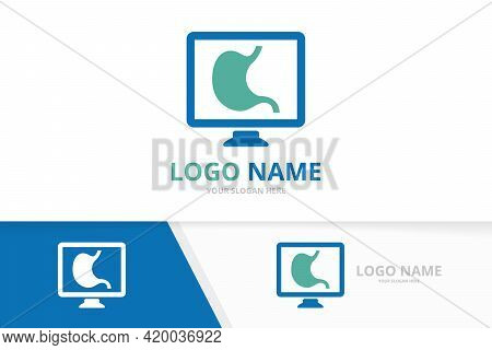 Vector Stomach And Computer Logo Combination. Unique Gastrointestinal Tract And Monitor Logotype Des