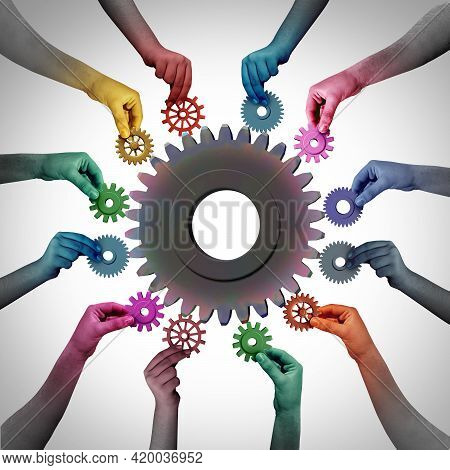 Together In Business As A Teamwork Unity And Employment Or Employee Concept Or Industry Workers Meta