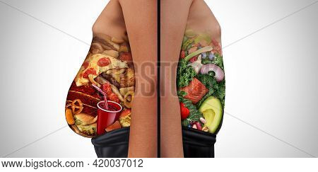 Diet Choices And Nutrition Choice And Eating Unhealthy Diet Or Healthy Food As A Side View Of A Fat
